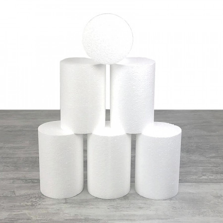 6 small polystyrene cylinders diameter 10 x height 15 cm, White Styropor column for display