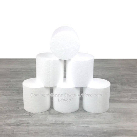 6 small polystyrene Disks diameter 10 x height 10 cm, White Styropor Dummies