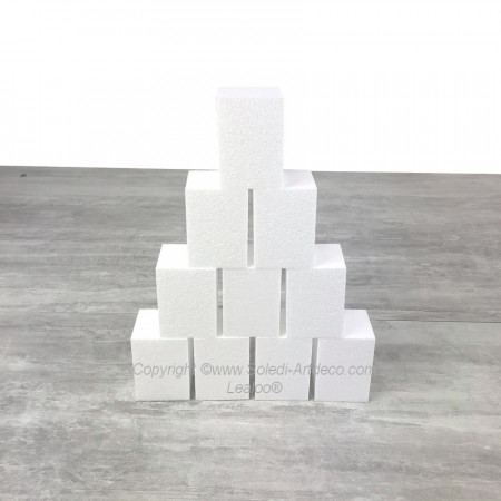 Lot 10 small polystyrene blocks, Height 7cm x 5x5 cm, to decorate