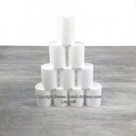 10 small polystyrene Disks diameter 5cm x height 7cm, White Styropor Dummies