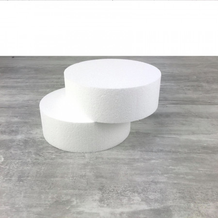 2 polystyrene Disks diameter 15cm x height 7cm, White Styropor Dummies