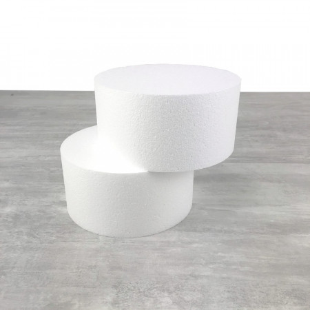 2 polystyrene Disks diameter 15cm x height 10cm, White Styropor Dummies
