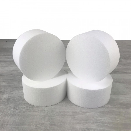 4 polystyrene Disks diameter 15cm x height 7cm, White Styropor Dummies