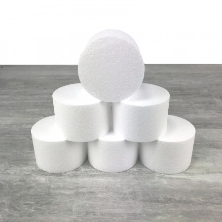6 polystyrene Disks diameter 15cm x height 7cm, White Styropor Dummies