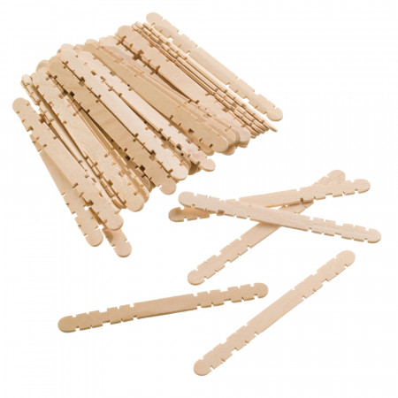 Set of 50 construction sticks, ice cream stick type, untreated raw wood, 11.5 cm x 1 cm