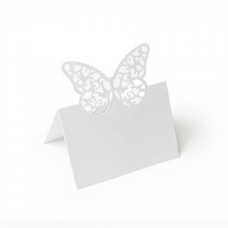 Set of 20 Butterfly Shape Place-Marker, Chiselled Wings, Iridescent White Lace Effect, Folded Height 9cm x Width 8cm