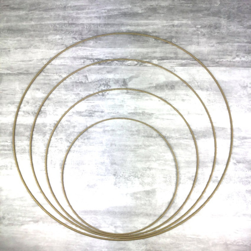 Set of 4 large Golden metal circles Diameter 30 cm to 60 cm for lampshade, epoxy rings for Dreamcatcher
