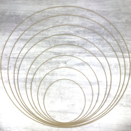Big Set of 8 large old gold metal circles Diameter 30 cm to 100 cm for lampshade, epoxy rings for Dreamcatcher