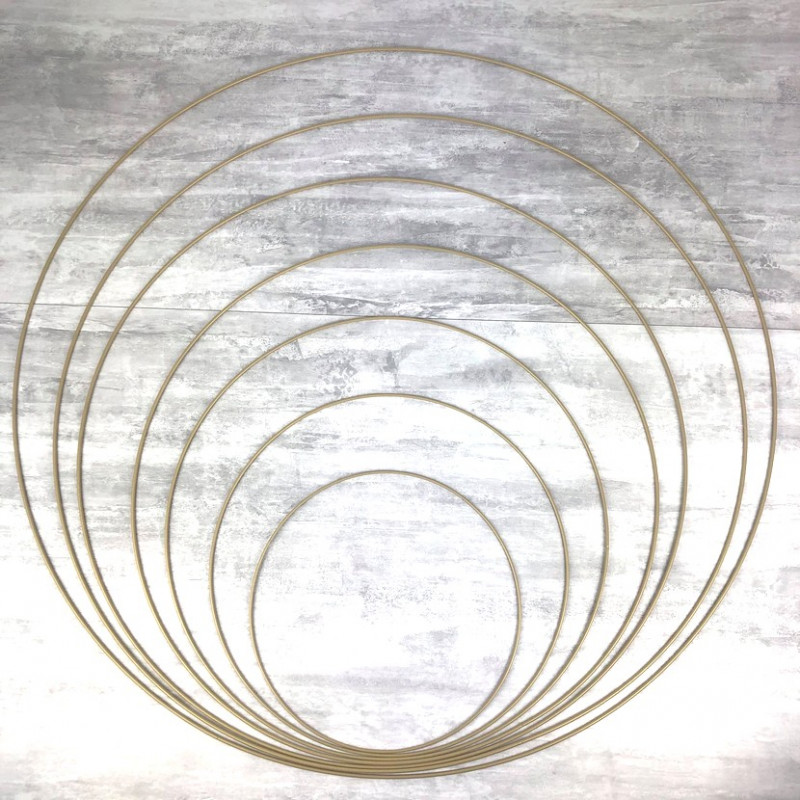 Set of 7 large old gold metal circles Diameter 30 cm to 90 cm for lampshade, epoxy rings for Dreamcatcher