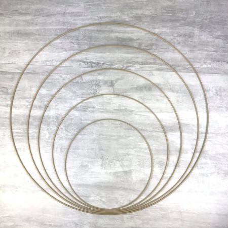 Set of 5 large old gold metal circles Diameter 30 cm to 70 cm for lampshade, epoxy rings for Dreamcatcher