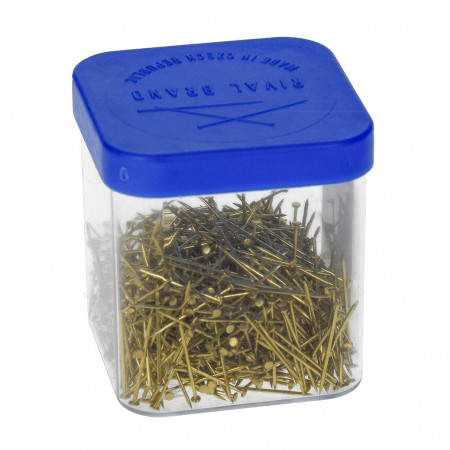 Box of 50 gr, golden brass pins, 18 mm, approx. 950 pieces for sequins