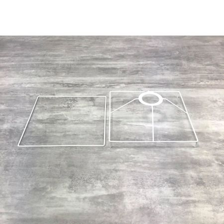 Square Frame Set with feet, 20 cm for lampshade, Square epoxy white, for lamp holder 40mm E27