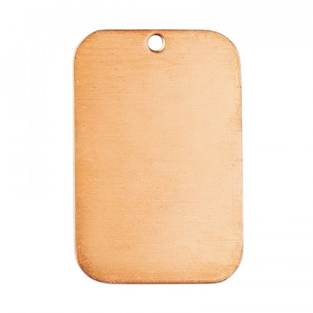 Set of 10 Copper pendants, Rounded rectangle, 1 hole, 41 x 27 mm, blank for enameling