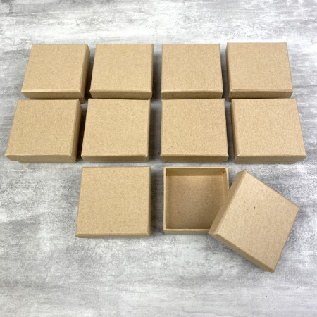 Set of 10 square flat boxes, cardboard, 6.5 cm x h. 2.7 cm, with cover