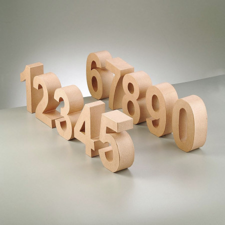 Paper mache number, 10 cm, 3D cardboard, from 0 to 9 as desired, Prof. 3cm