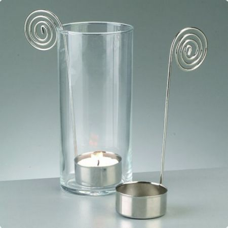 Lot of 5 silver metal spiral end candle holder, base diameter 4 cm x height. 15 cm, for tealight