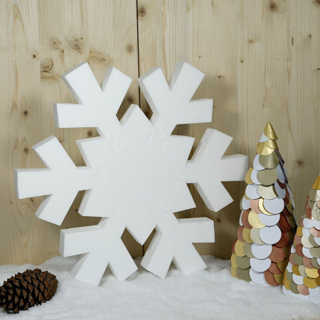 Big white polystyrene snowflake, 45 cm diameter, 7 pieces to assemble and decorate