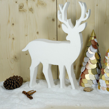 Large white polystyrene stag, height 42 cm, 6 reindeer parts to assemble and decorate