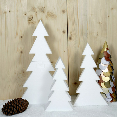 Set of 3 white polystyrene christmas trees, height 40 - 28 - 23 cm, 2 parts to assemble and decorate