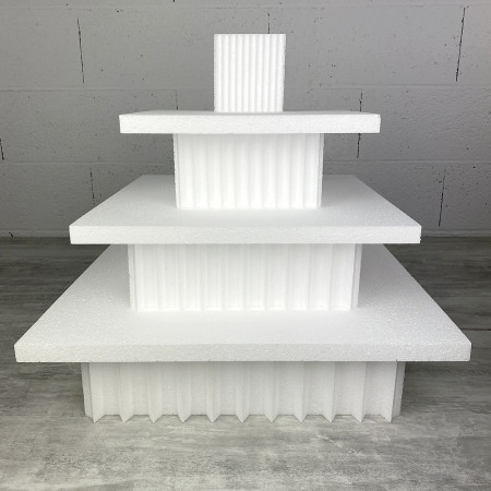 Square tip display stand in polystyrene, Height 46 cm, Support 7 levels of 2 and 10 cm, Base of 40 cm