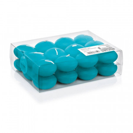 Set of 24 floating candles, turquoise, diameter 4,5cm, burning time approx. 4,5 hours