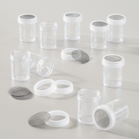 Set of 10 Empty tubes with sieve nozzle, ø 36 mm high 45 mm, for 25 ml