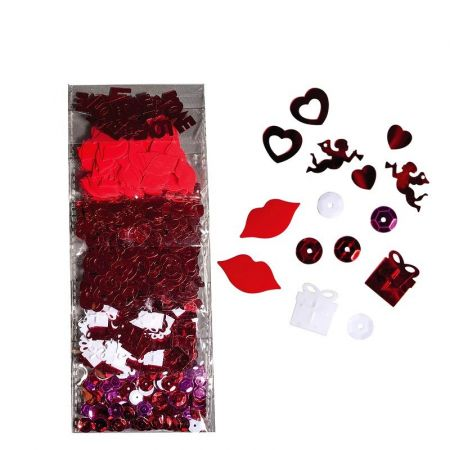 Mix of Glitter Hearts and Love, 6 Sequins Patterns, Confetti from 0.8 to 2cm