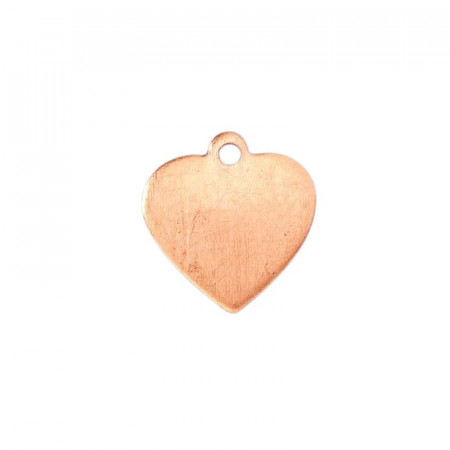Lot of 10 Copper pendants, little Heart with 1 hole, 1,6 x 1,5 cm, for enamelling
