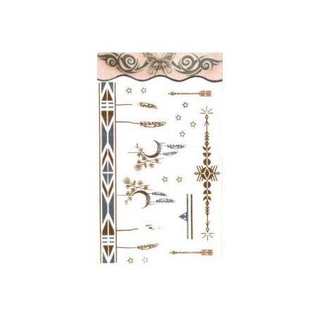 Temporary metal tattoo, Moon and feathers bracelet in gold and silver, Tattoo sheet: 15.5 x 9.5 cm