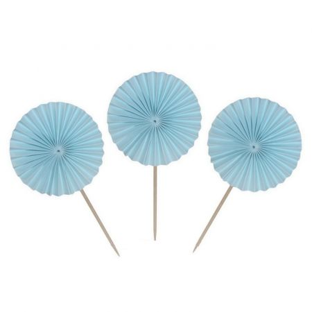 Lot of 8 Mini-fans on wooden pick, diam. 6cm, high. 13cm, Light Blue Paper, for cocktails and Ice creams, Baby shower