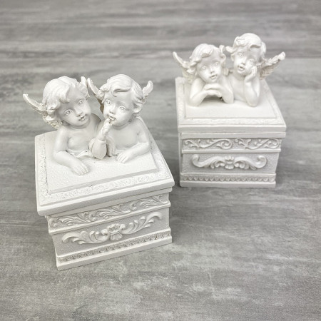 Set of 2 Resin boxes with 2 cherubs, chiseled and white cover, high. 8 cm x L. 6 cm