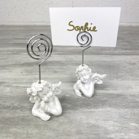 Set of 2 place cards with cherubs, Name badges in white resin, 5.5 x 5 x 9 cm