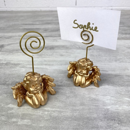 Set of 2 place cards with cherubs, Name badges in gold resin, 5.5 x 5 x 9 cm