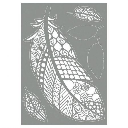 Stencil Different Feathers and Ornaments, size 30 x 12 cm plastic, A4 board