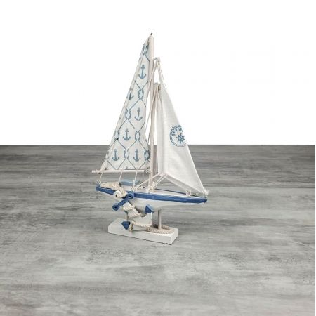Decorative sailboat in blue and white wood, Sailboat in fabric, Anchor and Ropes, 30.5x19x3.5cm