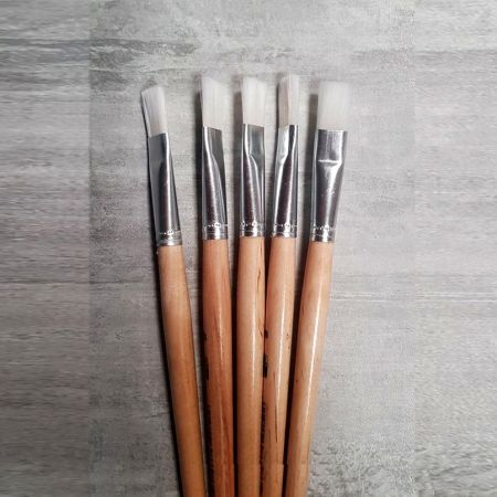 Set of 5 Flat paintbrushes in synthetic hair, width 19 mm, Size 20