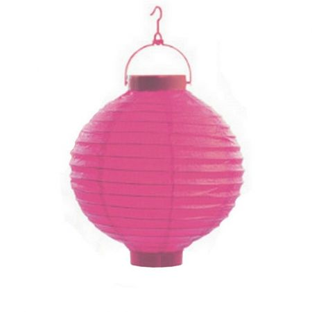Small Lampion Ball shape LED Paper fuchsia, Lantern diameter 20 cm, with suspension, for outdoor