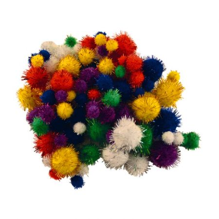Lot of 100 Multicolored Metallic Pompons, 4 sizes from 1 to 3 cm, sequined balls scrapbooking