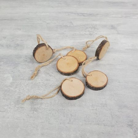 6 logs of wood 4.5cm, held by a cord, 100% natural products, place mark or napkin ring