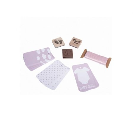 Pendants kit for gifts, Baby in Pink, stamps, ribbons, 30 baby pink labels