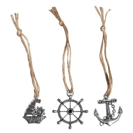 Lot of 3 Maritime Pendants in silvery metal, 3.5cm, Anchor, Sailboat, Steering wheel, and Jute