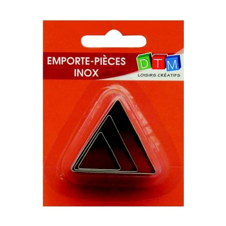 Set of 3 mini Triangle cookie cutters in food grade stainless steel, measure of side 2.3 and 4 cm