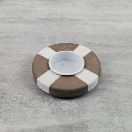 Tealight candle holder in wood, Lifebuoy in striped brown and white color, Diameter 9cm, high. 2.7cm