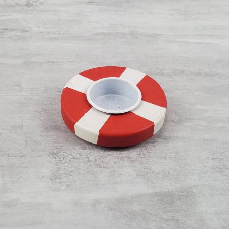 Tealight candle holder in wood, Lifebuoy in striped red and white color, Diameter 9cm, high. 2.7cm