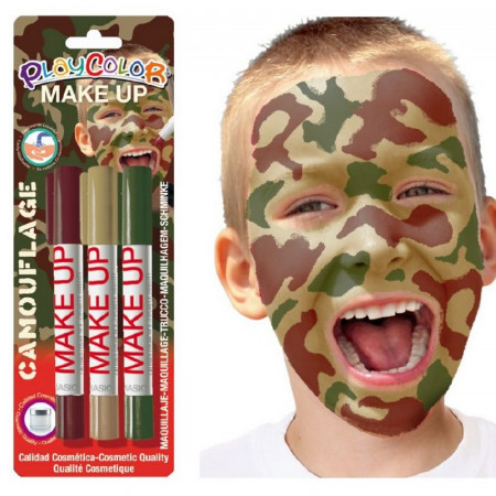 Set of 3 makeup Sticks, Bordeaux color, Brown and Green, Camouflage theme markers, cosmetic quality, paraben free
