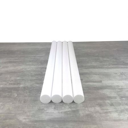 Lot of 4 cylinders diam. 5 cm x height. 80 cm, in polystyrene, Columns in white Styropor for display