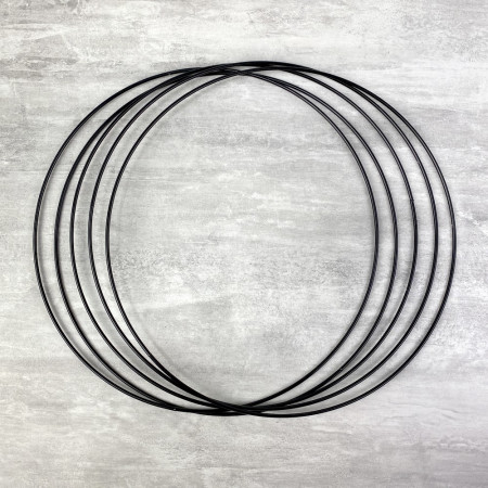 Set of 5 black metal circles Diameter 30 cm for lampshade, epoxy wire ring for Dreamcatcher