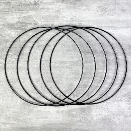 Set of 5 black metal circles Diameter 20 cm for lampshade, epoxy wire ring for Dreamcatcher