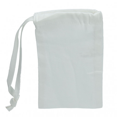 Lot 10 white cotton pouches, 15 x 10 cm, Small bags with drawstrings, 105g / m²