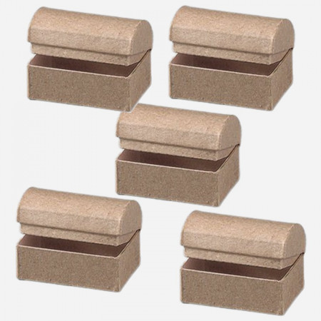 Lot 5 small boxes Treasure chests with rounded lid, 6 x 4 x 4cm, in cardboard